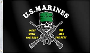 Lomond Black U.S. Marines Flag 3x5 Ft Large,UV Fade Resistant- Mess with The Best Die Like The Rest American USMC Flag,Great for College Dorm,Room Decor,Outdoor,Parties,Gift,Tailgates 36x60inch