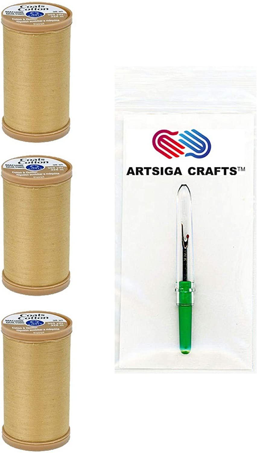 Almond Pink Bundle with 1 Artsiga Crafts Seam Ripper S975-1060-3P 3-Pack Coats /& Clark Sewing Thread Machine Quilting Pure Egyptian Cotton Thread 350 Yards