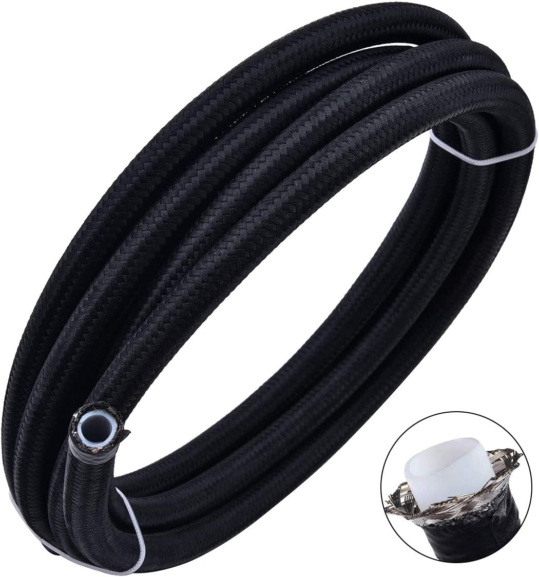 "EVIL ENERGY 10FT 6AN 3/8"" PTFE Fuel Line E85 Tube Nylon Stainless Steel Braided Universal Black (8.1mm 5/16""ID)"