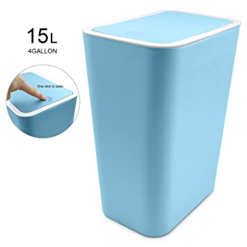 Topgalaxy.Z Small Trash Bin Kitchen Trash Can with Lid,15 Liter/4 Gallon  Plastic Garbage Can, Waste Can Bin (Blue)