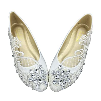 643bb16f659 Women s Wedding Bridal Dress Lace Crystal Ballet Flats Shoes (4M) White.  Roll over image to zoom in