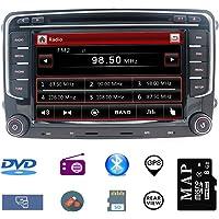 Hotaudio 7 pouces Autoradio GPS Navigateur pour Voiture pour VW, unité de tête stéréo Voiture 2 Din avec Lecteur de CD/DVD, USB SD, 720P Video,FM AM RDS, SWC Canbus,Wince Système Bluetooth 8G Carte