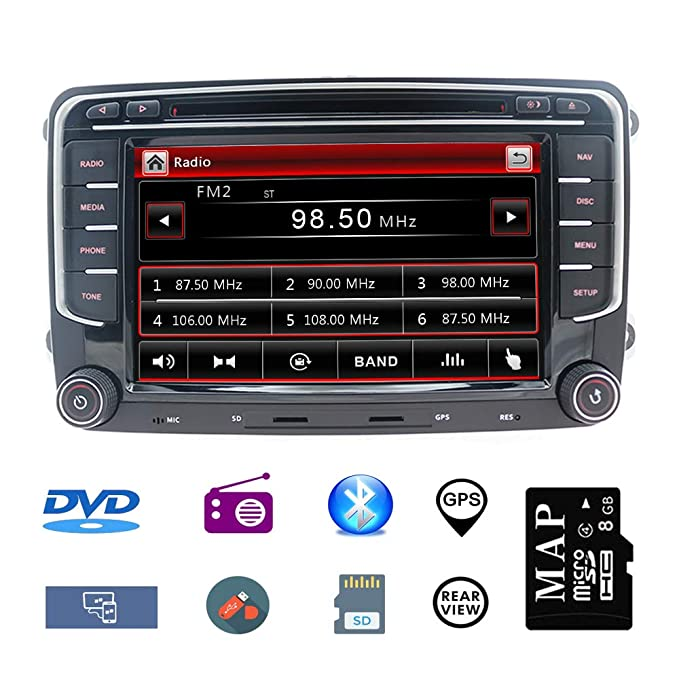 Hotaudio Car Stereo GPS Navigator for VW, Double Din Head Unit 7 Inch 2 Din