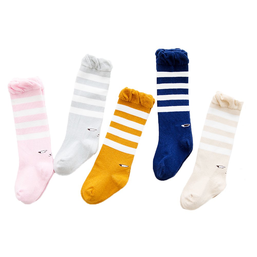 29c46036c Amazon.com  SEADEAR 5 pairs Cute Soft Cotton Eye pattern Baby Knee High  Socks Toddler Socks Newborn Stockings  Sports   Outdoors