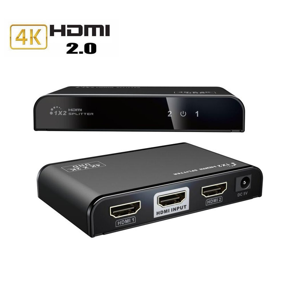 MYPIN Compatible HDMI Splitter 1 in 2 out V2.0 4K Full HD 3D 1080P HDR 1x2 Adapter Signal Distributor Hub for STB,DVD,Media Player,Laptop,D-VHS