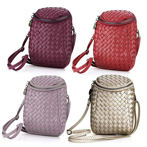 Womens Single Shoulder Purse Dual Pockets PU Leather Mini Cellphone Crossbody Bag for Women