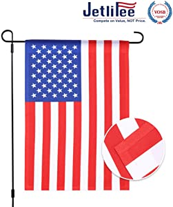 Jetlifee USA Garden Flag - by U.S. Veterans Owned Biz. Double Sided United States Decorative Garden Flags 18 x 12.5 Inch 100% Polyester All Weather Flag Perfect for Outdoor (Two-Sided Garden Flag)