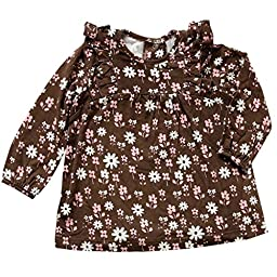 Silkberry Baby Bamboo Floral Print Ruffle Top Chocolate 12-18m