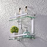 KES Aluminum Bathroom Glass Rectangular Shelf Wall Mounted Double Deck Tempered Glass Extra Thick, Silver Sand Sprayed