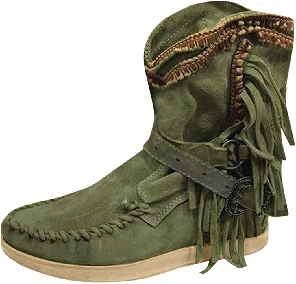 Kauneus Womens Vintage Tassel Buckle Strap Ankle Boots Faux Suede Boho Roman Booties Fashion Plus Size Short Boots