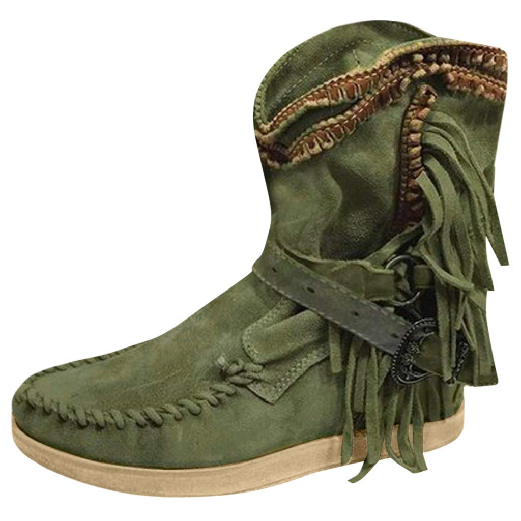 Fheaven Women's Fashion Tassel Lace Up Buckle Knee High Combat Boots Green by Fheaven-shoes