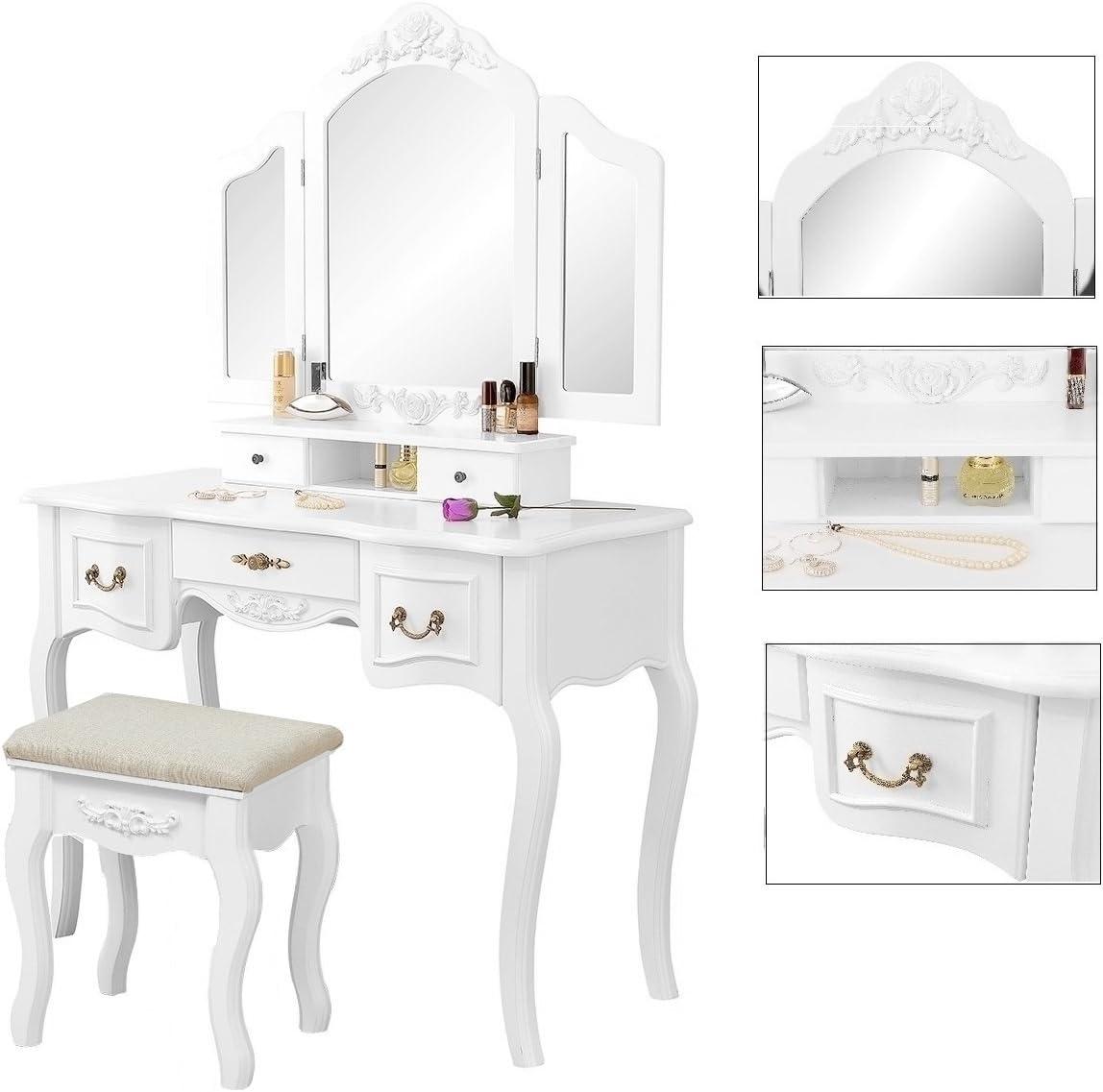 Gemani 01-0023 Grande Coiffeuse avec 3 miroirs et Tabouret