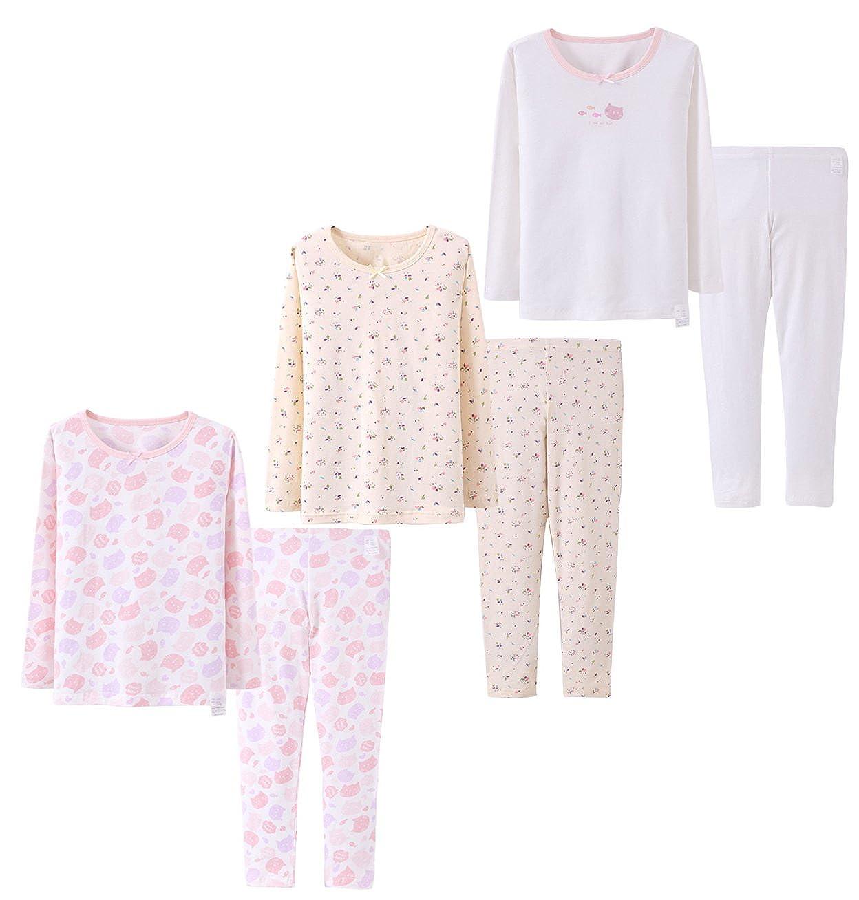 Abalacoco Big Girls Boys 3 Sets (6pcs) Cotton Longs sleeve Undershirts Autumn Winter Thermal Underwear Pants Suit 4-10T