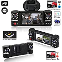 Indigi HD Dash Cam Camera for Cars/Trucks - Wide Angle Dashboard DVR ( Front and Rear + Motion Activate + File Protection )