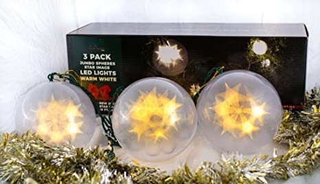 stay off the roof christmas star jumbo sphere led lights set 10 ft lighted length