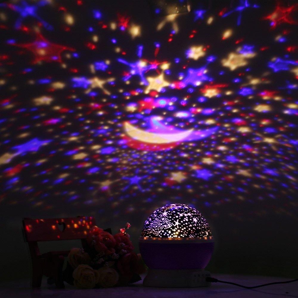 FKANT Babygeschenke Sternenhimmel Projektor Kinderlampe 360 Grad drehbar Weihnachtsgeschenke Romantische Dekoration 4 LED Wulst und USB-Kabel f/ür Schlafzimmer Kinder Zimmer Hochzeit Geburtstag Party