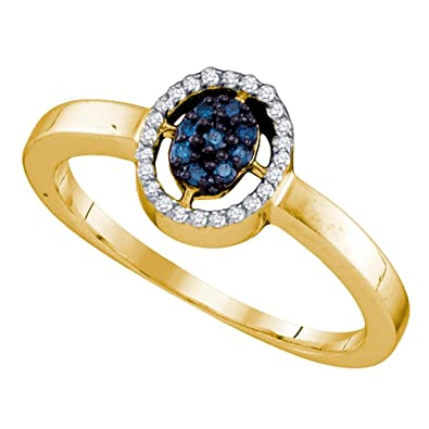 a78fd43b6d15 Blue Diamond Oval Halo Fashion Ring 10k Yellow Gold Right Hand Band Round  Cluster Style Fancy