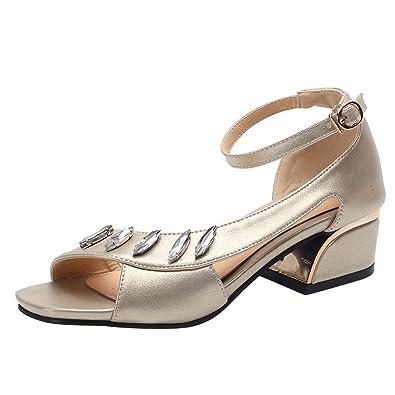 MissSaSa Damen Blockabsatz Peep Toe Sandalen