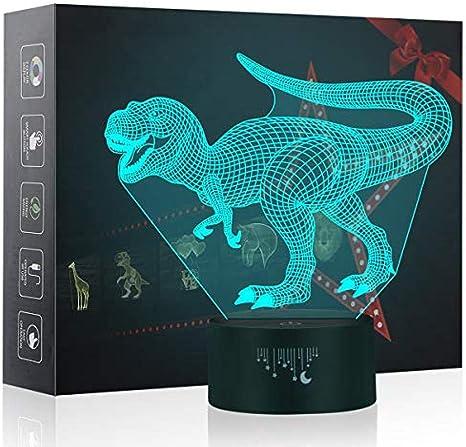 Lámpara 3d Dinosaurio LED Ilusión de luz nocturna 7 Cambie de color Lámparas de escritorio de mesa con acrílico plano y base de ABS y cable USB para un regalo impresionante Velociraptor-4