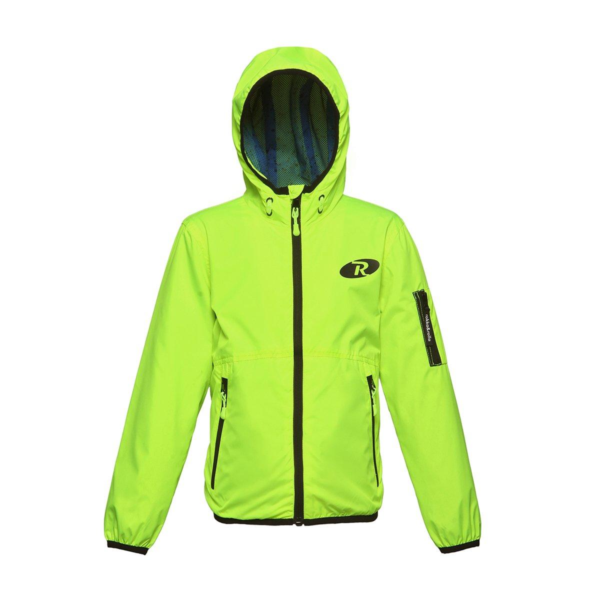 Rokka&Rolla Boys' Lightweight Water Resistant Zip-Up Hooded Windbreaker Jacket Neon Green