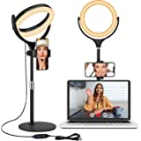 Selfie Ring Light with Tripod Stand and Phone Holder, Laptop Light for Video Conferencing, 8'' Desktop Circle Lighting for Ma