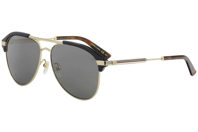 c85dc86494 Amazon.com  Gucci Grey-Silver Aviator Sunglasses GG0288SA-005 60  Clothing