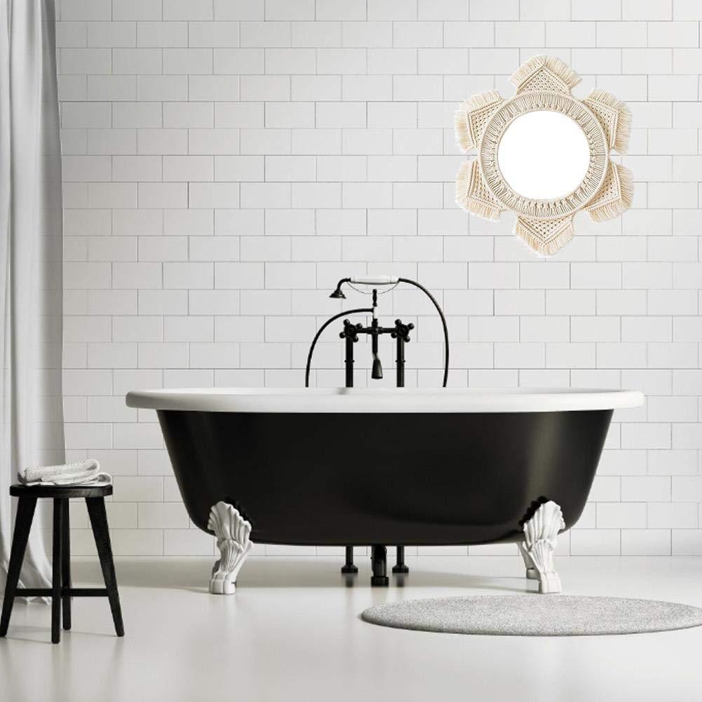 Specchio Appeso a Parete con Frange Macrame Specchio Rotondo Decorato a Mano Decorazione Domestica per Appartamento Soggiorno Camera da Letto Corridoio Vivaio