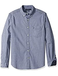 Nautica - Camisa de botones,Classic Fit Stretch Gingham Long Sleeve Button Down Shirt, Hombres