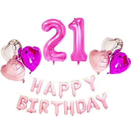 azowa large number 21 balloons with happy birthday letter balloons heart shaped mylar balloons for 21