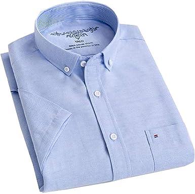 dahuo Camisa básica de algodón Oxford de Manga Corta con Botones para Hombre, Talla 3XL=China 4XL Azul Azul Claro 3XL: Amazon.es: Ropa y accesorios