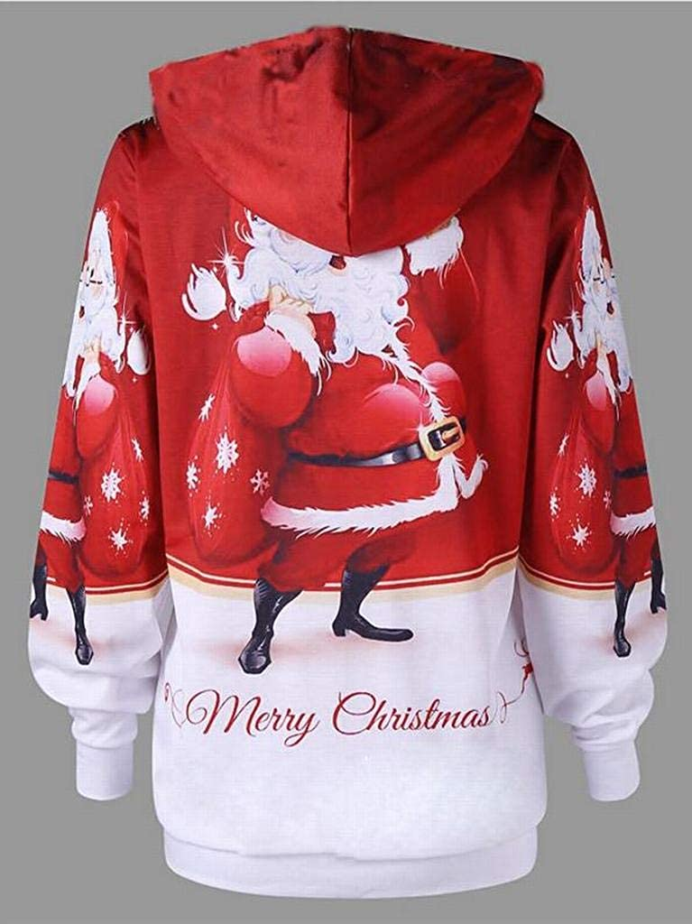 Heless Women Loose Fit Long Sleeve Santa Claus Print Casual Pullover Hooded Sweatshirt Top