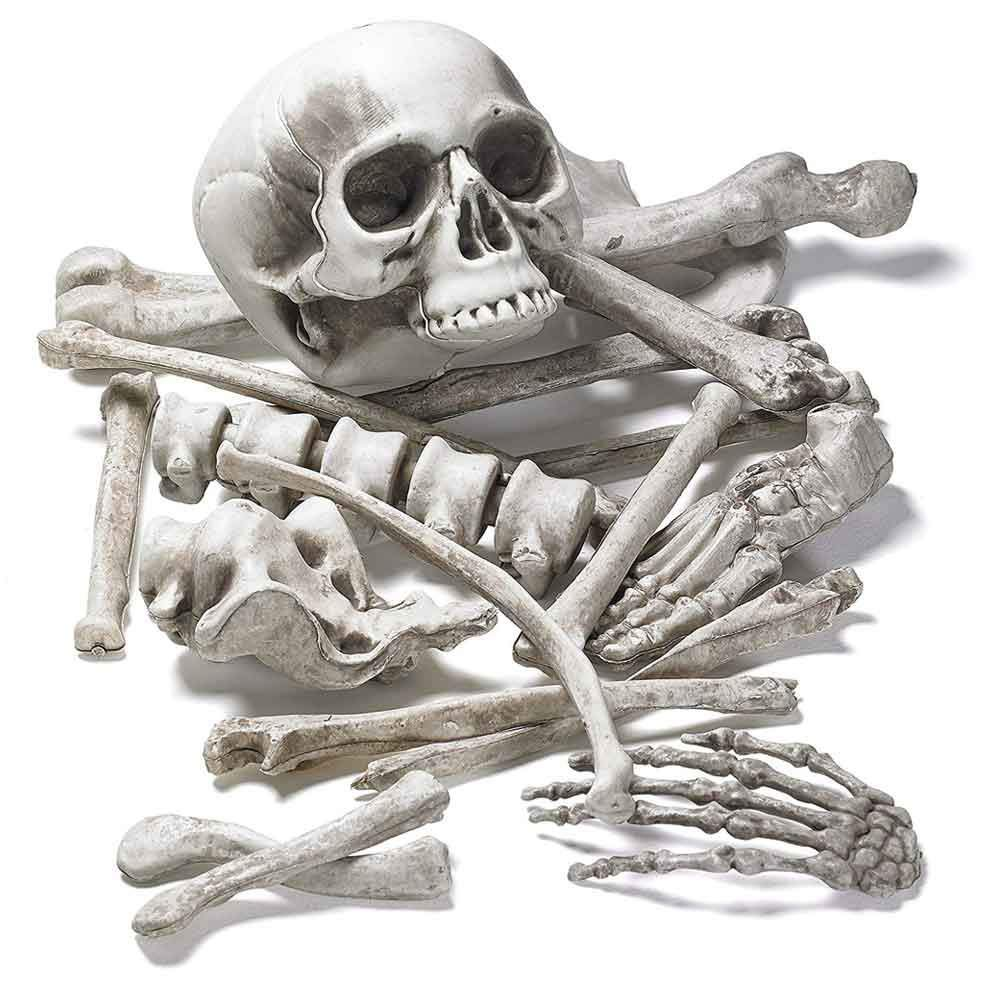 28pcs Horrible Haunted House Props Broken Bone Skull Halloween Skeleton Party Decor,Full Body Halloween Skeleton,Skeleton Full Body Realistic with Joints for Halloween Pose Skeleton Prop Decoration