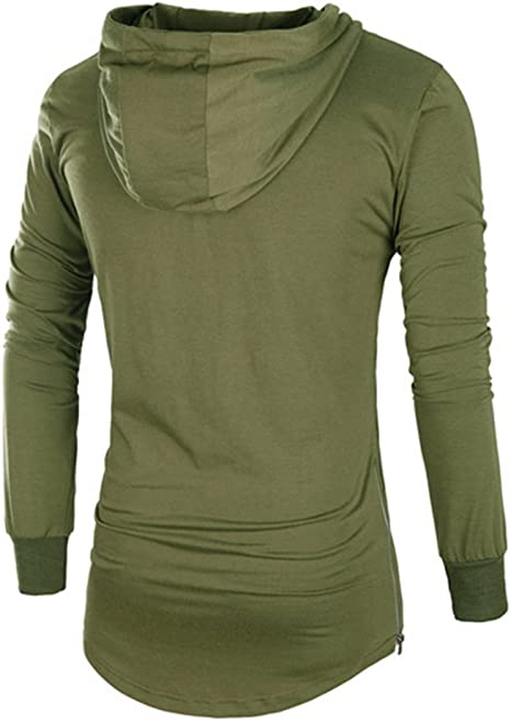 Comaba Mens Thicken Long-Sleeved Activewear Cotton Pocket Pullover