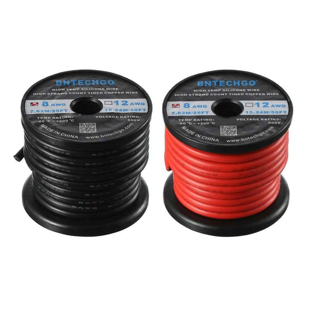 BNTECHGO 8 Gauge Silicone Wire - Soft and Flexible High Temperature ...