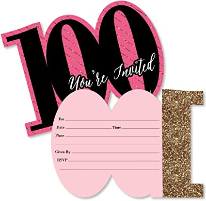 Chic 100th Birthday Pink Black And Gold Shaped Fill In Invitations Birthday Party Invitation Cards With Envelopes Set Of 12