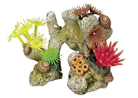 Nobby - Adorno de piedra de coral con plantas para acuario (11 x 7 x