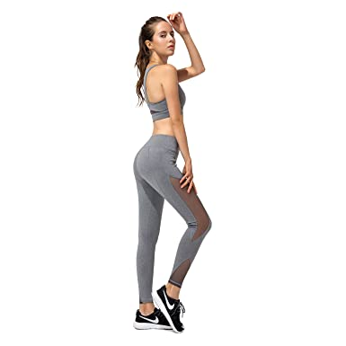 a9eeca5014393c Women Yoga Clothes High Waist Yoga Pants Leggings with Pockets+Sports Bras-  a Set