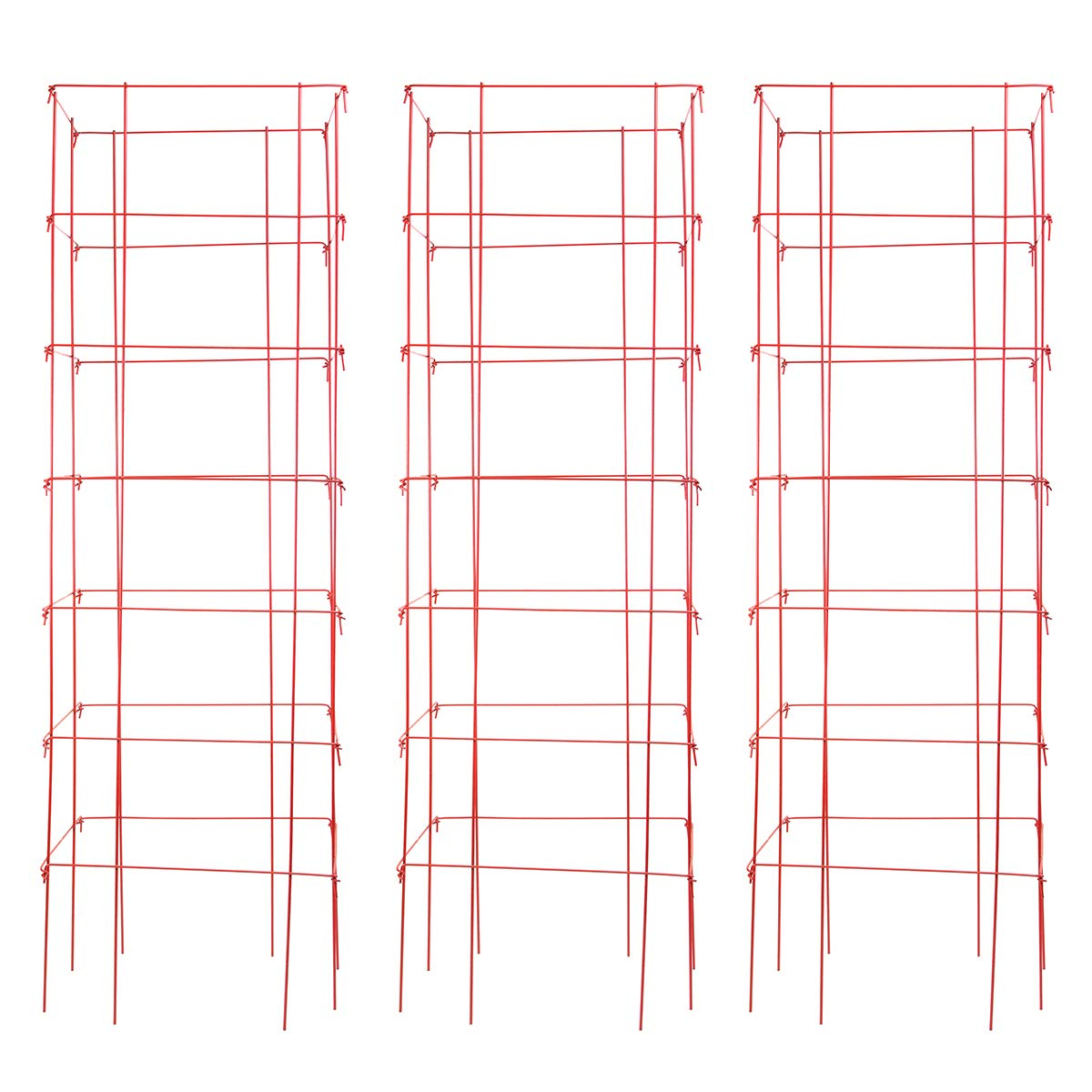 """Burpee Extra Large Heavy Gauge Tomato 3 Cages   18"""" x 18"""" x 58""""   Made in the USA, Red"""