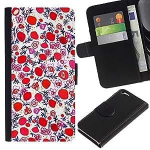 [Neutron-Star] Modelo colorido cuero de la carpeta del tirón del caso cubierta piel Holster Funda protecció Para Apple (4.7 inches!!!) iPhone 6 / 6S [Porcelana Pintura Wallpaper Red]