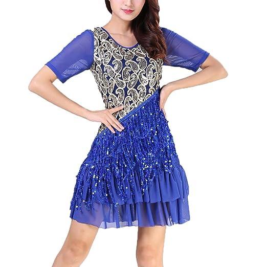 ZZCC Mujer Vestido de Baile Latino Salsa/Salón de Baile ...