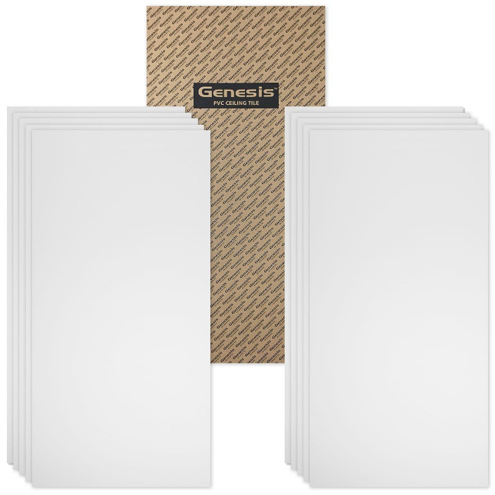 Genesis - Smooth Pro White 2x4 Ceiling Tiles 5 mm thick (carton of 10) - These 2'x4' Drop Ceiling Tiles are Water Proof and Won't Break - Fast and Easy Installation (2' x 4' Tile) by Genesis