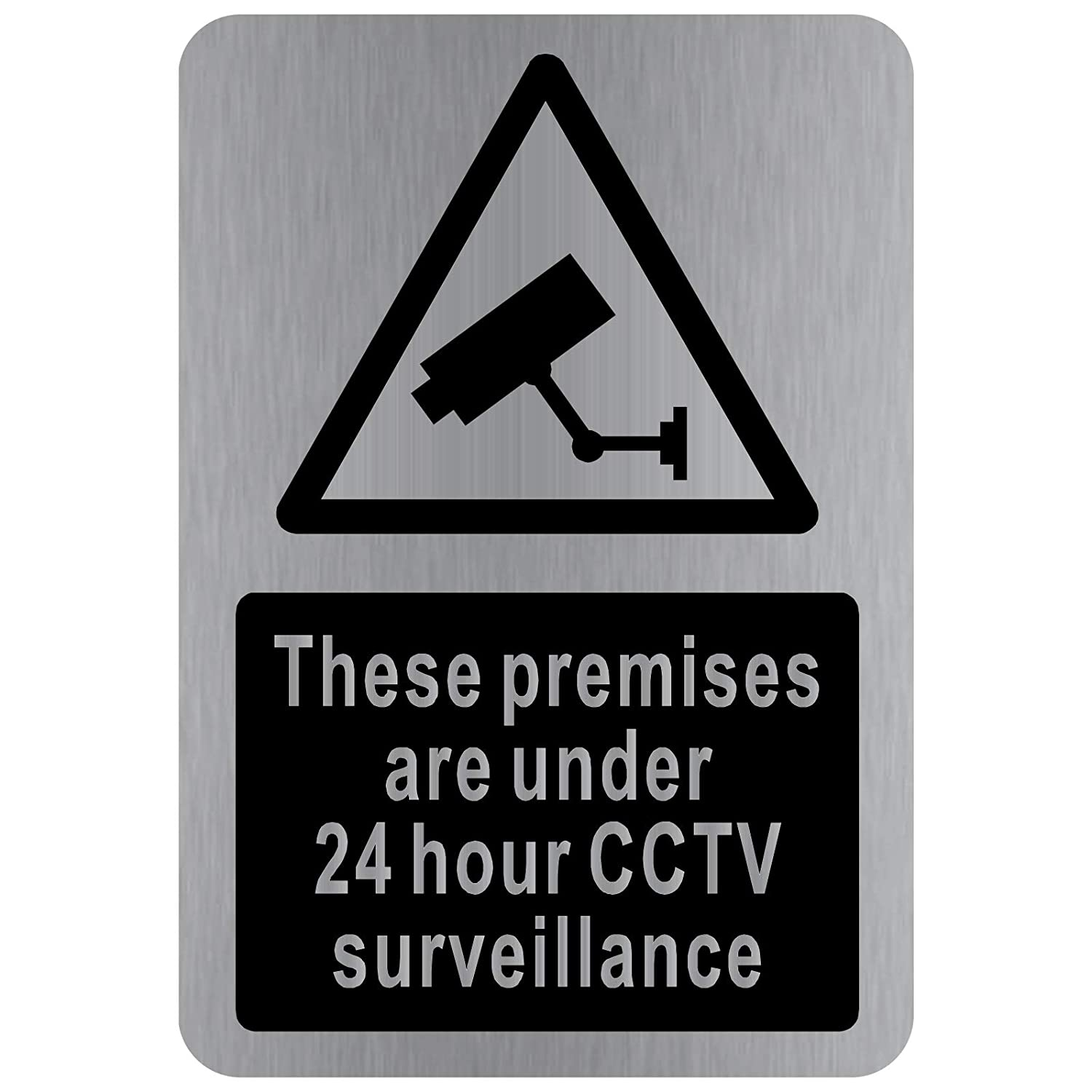CCTV In Operation Sign-DESIGN 2-WITH IMAGE-Brushed Silver Aluminium Metal-Warning Door Notice Office Shop Warehouse School Cafe Restaurant Pub Business Hotel Premises Camera Recording