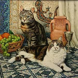 LRG. Romulus y Remus el italiano gatos ajuste, en romano, impresión por Geoff Tristram, gato atigrado tamaño de la imagen Aproximadamente 12 x 12 cm aprox.: Amazon.es: Hogar