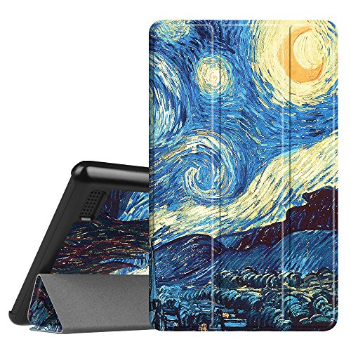 Fintie Slim Case for All-New Amazon Fire 7 Tablet (7th Generation, 2017 Release), Ultra Lightweight Slim Shell Standing Cover with Auto Wake/Sleep, Starry Night