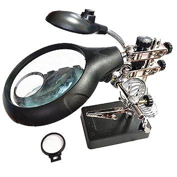 Gona Helping Hand Magnifier Stand - Soldadura De Hierro 10X Lente De Aumento, Soldar, Fabricar E Inspeccionar Objetos Micro: Amazon.es: Hogar