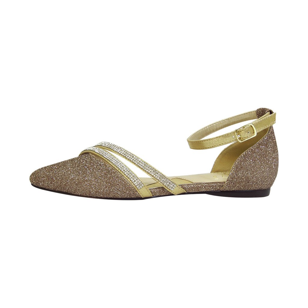 Fuzzy FIC Hallie Women Wide Width Pointed Toe Ankle Strap Dress Flats (Size/Measurement Guide Available) B01M0ZN9BG 7.5 E|Bronze