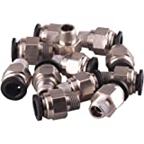 """1/4"""" PT Male Thread 8mm Push In Joint Pneumatic Connector Quick Fittings 12 Pcs Ted Lele (8mm 1/4)"""