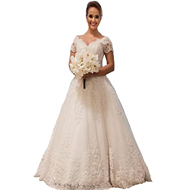 Yuxin Elegant Lace Ball Gown Wedding Dresses For Bride Appliques V