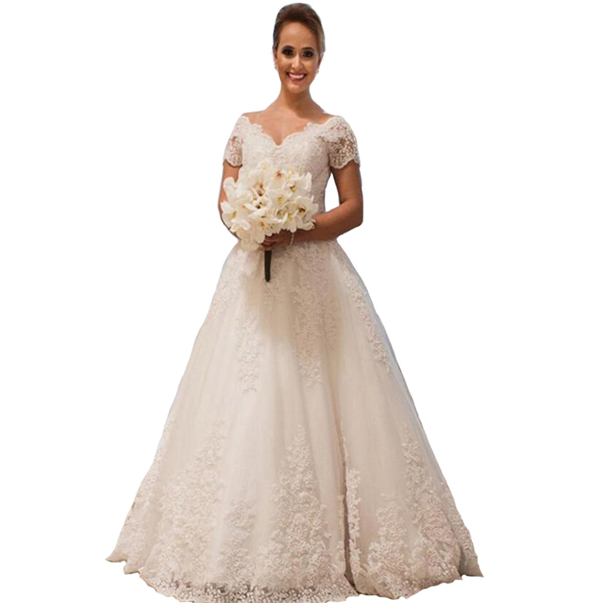 Yuxin Elegant Lace Ball Gown Wedding Dresses Appliques V Neck Short
