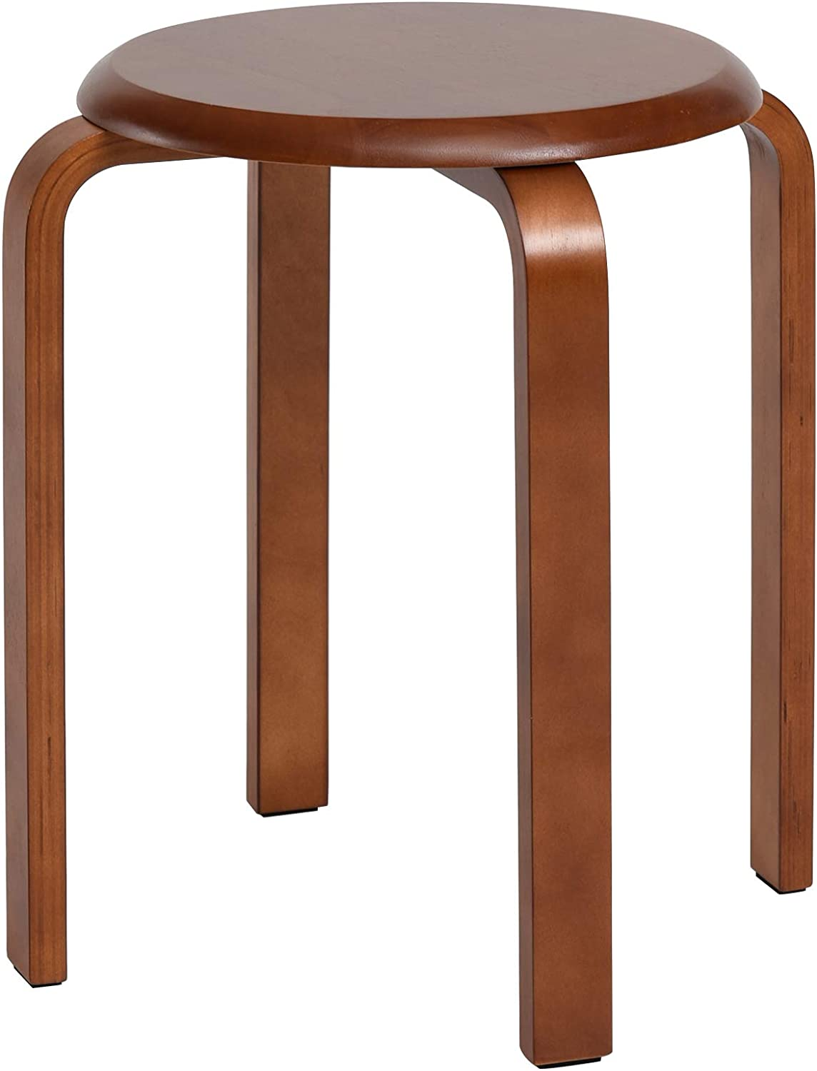 IBUYKE Solid Wood Bar Stool, Backless Counter Seat, Stackable Round Stool for Dinning, Kitchen, Home, Garden, Living and Class Room, Brown, URF-635